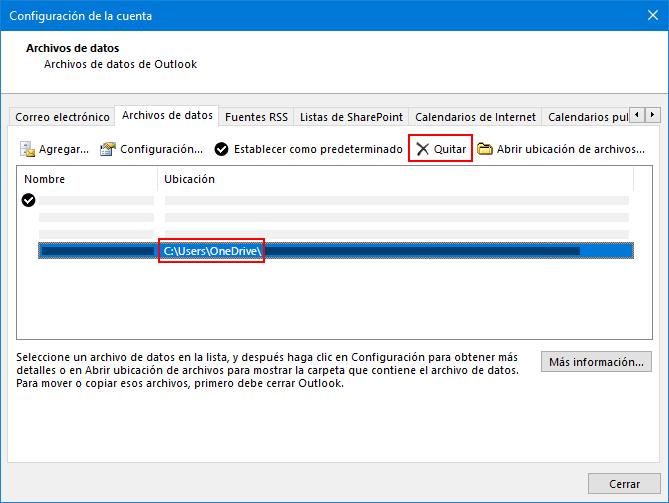 Cuadro de diálogo archivos de datos de Outlook