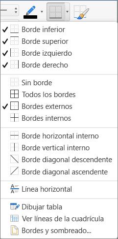Se muestran las opciones de borde para el diseño de la tabla