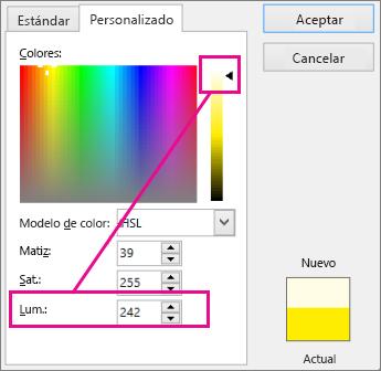 Al deslizar hacia arriba la selección, la escala de luminosidad aumenta el valor de luminosidad.