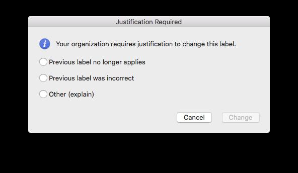 Experiencia de justificación para el cambio a una versión anterior de la etiqueta de confidencialidad en Word para Mac