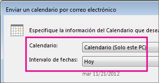 En los cuadros Calendario e Intervalo de fechas, seleccione las opciones que desee