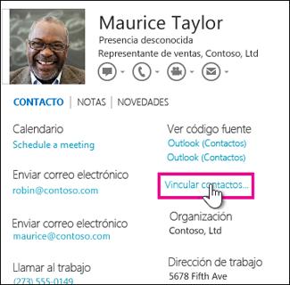 Botón Vincular contactos en la tarjeta de contacto