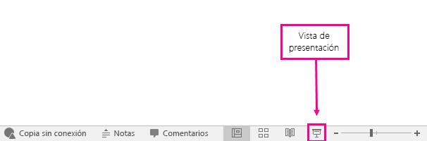 muestra la ubicación del botón Vista Presentación en PowerPoint