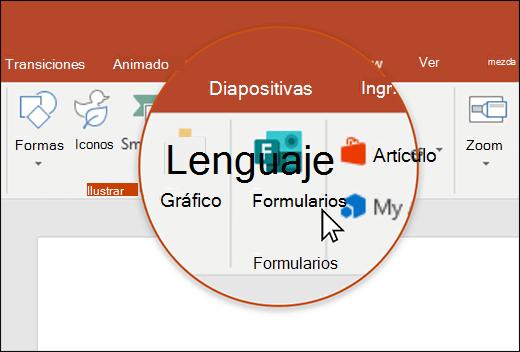 Icono formularios en PowerPoint