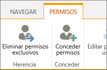 Botón Eliminar permisos únicos