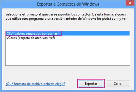 Seleccione CSV y, a continuación, Exportar.
