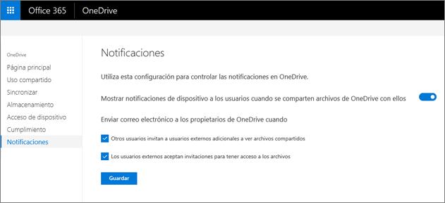 La ficha notificaciones del centro de administración de OneDrive