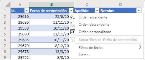 Usar el filtro de tabla de Excel para ordenar en orden ascendente o descendente