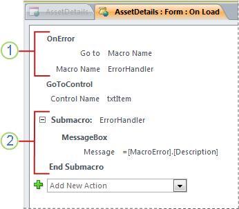 Una macro que contiene una submacro de control de errores.