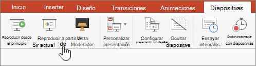 Botón reproducir a partir de la diapositiva actual