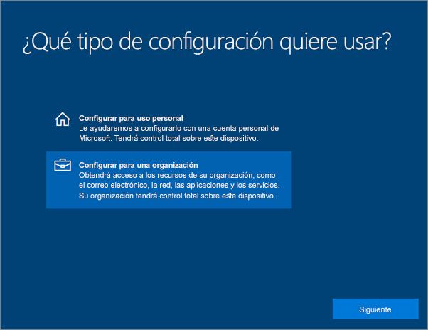 En la página ¿Cómo quiere realizar la configuración?, elija Configurar para una organización.