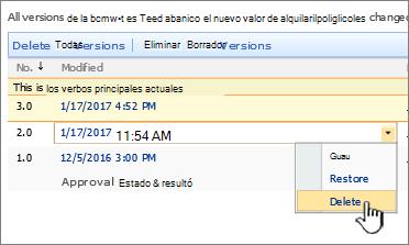 Cuadro desplegable de control de versiones en un archivo con la opción eliminar resaltada