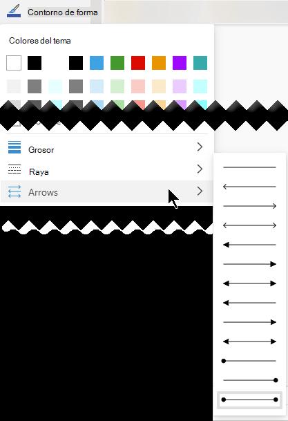 Visio para la web le ofrece varias opciones para la dirección y el estilo de las flechas.