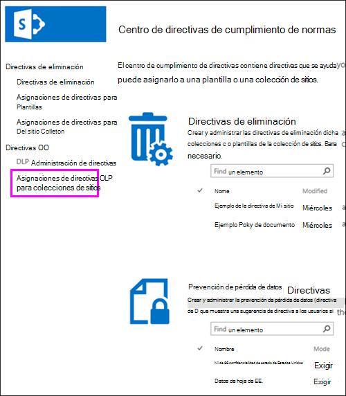 Asignaciones de directivas para la opción de colecciones de sitios