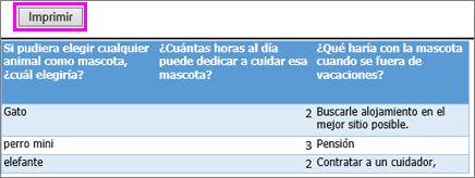 Vista previa de impresión de preguntas y respuestas de la encuesta.