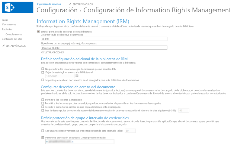 Configuración de Administración de derechos de información