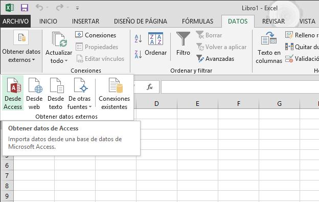 Importar datos desde Access con una cinta de opciones pequeña