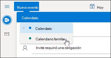 Captura de pantalla del menú desplegable de selección de calendario