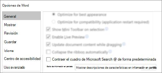 En el cuadro de diálogo Opciones de > de archivo se muestra la opción contraer el cuadro de búsqueda de Microsoft de forma predeterminada.