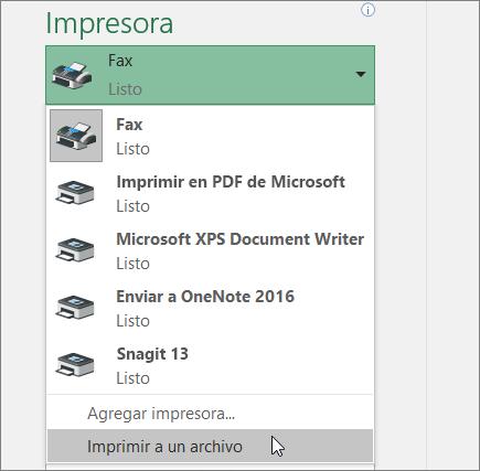 Imprimir en la opción de archivo