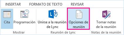 Captura de pantalla de las opciones de reunión