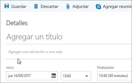 Captura de pantalla del panel de eventos Nuevo calendario que muestra el cuadro Agregar una ubicación o una sala.