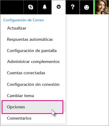 Haga clic en Configuración y después en Opciones.
