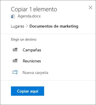 Captura de pantalla de Seleccionar una ubicación al copiar un archivo a SharePoint