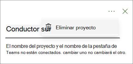 Captura de pantalla que muestra el comando eliminar proyecto en el menú desplegable desde la pestaña equipos del proyecto.