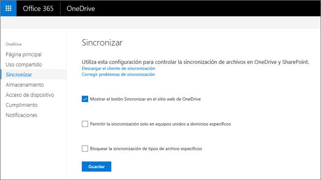 Pestaña Sincronización del Centro de administración de OneDrive
