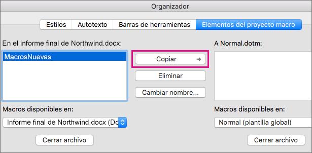 Seleccione una macro en un documento y haga clic en Copiar para copiarla en una plantilla seleccionada.