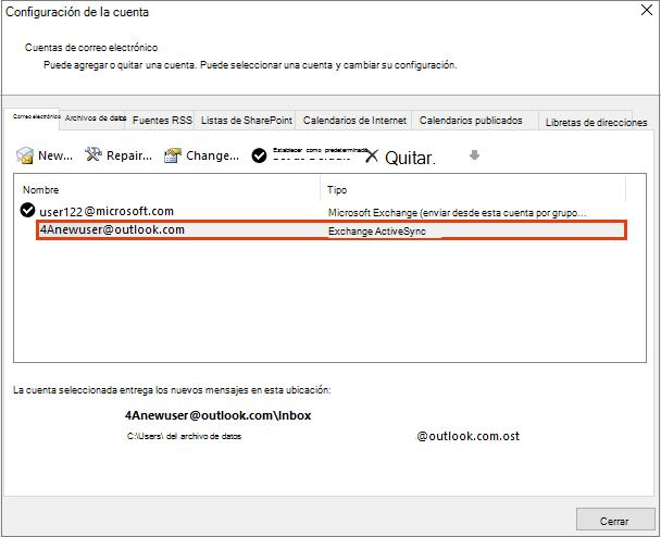 Configuración de la cuenta de Outlook, cuentas de correo electrónico