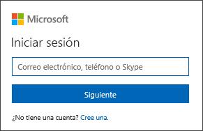 Inicio de sesión de cuenta de captura de pantalla de Microsoft en la página