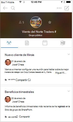 Vista de conversación de la aplicación móvil de grupos de Outlook