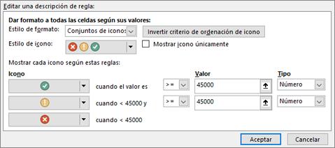 Cuadro de diálogo Opciones de conjunto de iconos de formato condicional