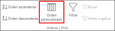 Opciones de ordenación personalizada de Excel en la pestaña Datos