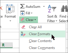 opción de borrar formatos
