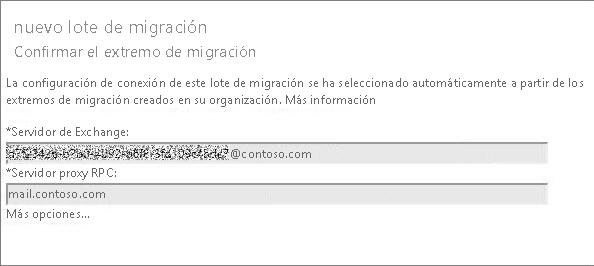 Nuevo lote de migración con extremo confirmado.