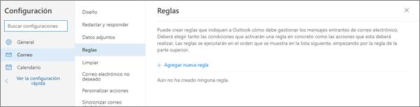 Captura de pantalla que muestra la página Reglas de Correo, en Configuración para Outlook.com.