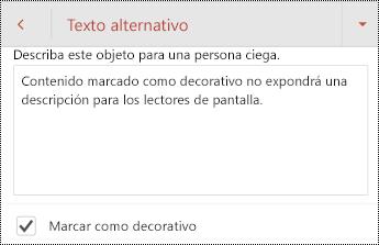 Marcar como decorativo seleccionado en el cuadro de diálogo texto alternativo en PowerPoint para Android.
