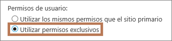Establecer permisos exclusivos en un subsitio