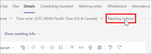 Seleccionar opciones de reunión antes de la reunión