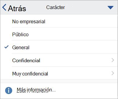 Captura de pantalla de las etiquetas de confidencialidad en Office para iOS