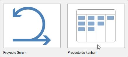 Captura de pantalla de los mosaicos que representa las plantillas de proyecto de Scrum y Kanban