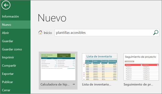 Recorte de pantalla de la interfaz de usuario de Excel que muestra el cuadro de búsqueda con la entrada de plantillas accesibles y resultados de búsqueda de plantillas accesibles.