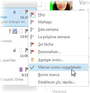 Comando Marcar como completado del menú contextual de la lista de mensajes