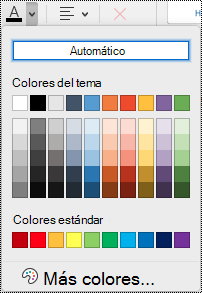 Menú desplegable Color de fuente en OneNote para Mac.