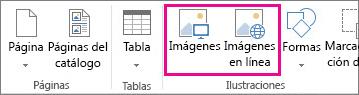 Captura de pantalla de las opciones de Insertar imágenes en el menú Insertar de Publisher.