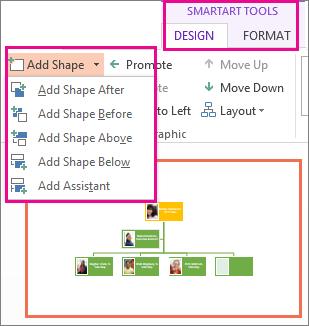 Opciones Agregar formas encontradas en la pestaña Diseño de herramientas SmartArt