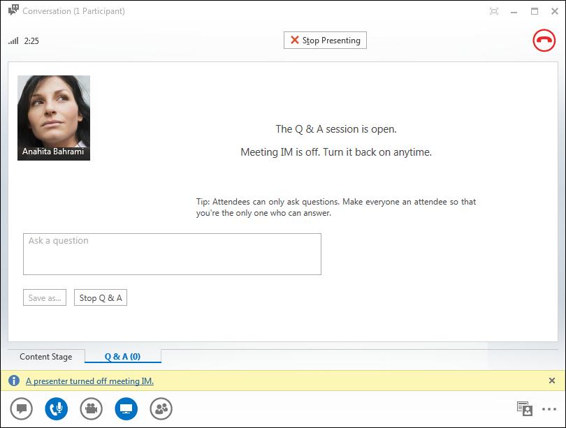 Captura de pantalla del Administrador de preguntas y respuestas